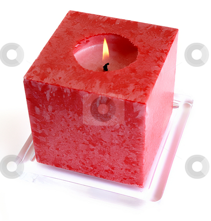 Candle stock photo, Red candle light in a white background by Rui Vale de Sousa