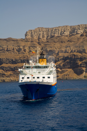 Ferry boat stock photo, Ferry boat at the island of santorini, in greece by Rui Vale de Sousa