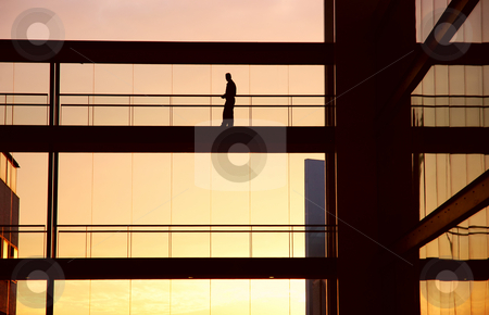 Alone stock photo, Worker alone in the modern building in sepia tone by Rui Vale de Sousa