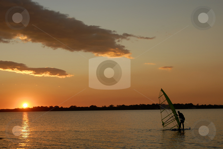 Windsurf stock photo, Windsurf at sunset in the portuguese coast by Rui Vale de Sousa