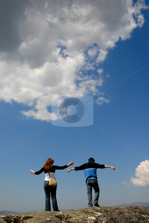 Open stock photo, Young couple in the top of the mountain by Rui Vale de Sousa
