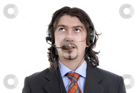 Call center stock photo, Young call center man talking by the phone by Rui Vale de Sousa