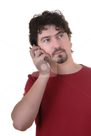 Call stock photo, Man in white background calling by phone by Rui Vale de Sousa