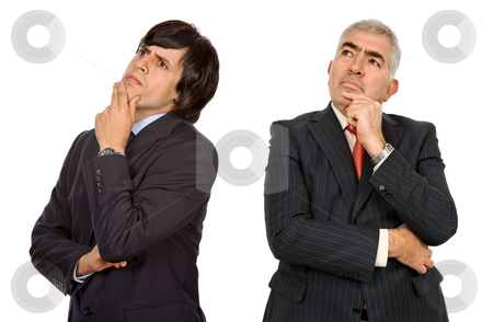 Thinking stock photo, Two business men thinking, isolated on white by Rui Vale de Sousa