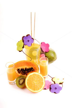 Juice stock photo, A glass of orange juice with cut oranges by Rui Vale de Sousa