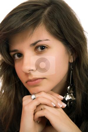 Woman stock photo, Young beautiful pensive woman close up portrait by Rui Vale de Sousa