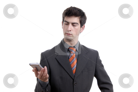 Man stock photo, Young business man working with a pda by Rui Vale de Sousa