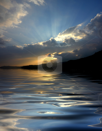 Light stock photo, Sunset over the mountains, with water reflection by Rui Vale de Sousa