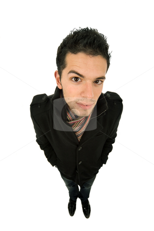 Looking stock photo, Young casual man portrait in a white background by Rui Vale de Sousa