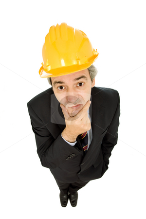 Engineer stock photo, An engineer with yellow hat, isolated on white by Rui Vale de Sousa