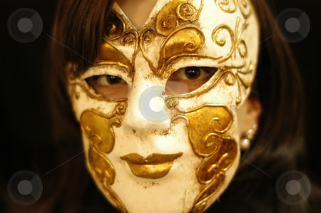 Mask stock photo, Woman with a venice mask in black background by Rui Vale de Sousa