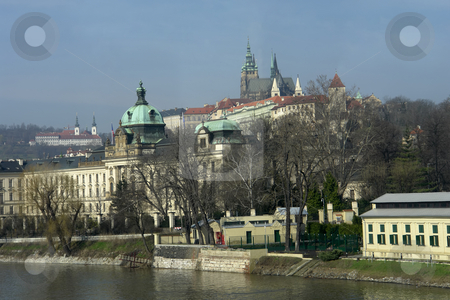 Prague stock photo, Detail of prague river and architecture by Rui Vale de Sousa
