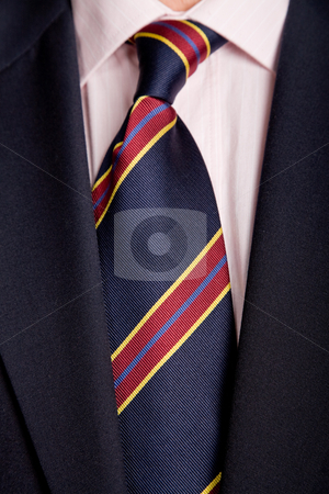Necktie stock photo, Detail of a business man suit with colored tie by Rui Vale de Sousa