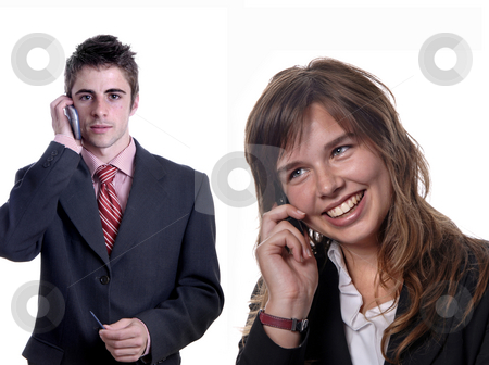 Calling stock photo, Young couple on the phone in white background by Rui Vale de Sousa