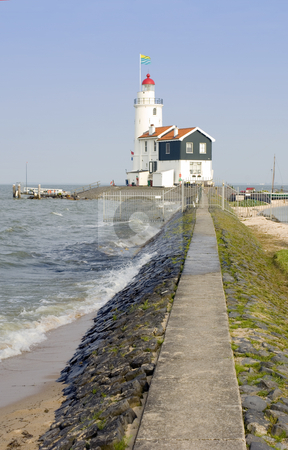 Paard van Marken stock photo, The famous lighthouse at the east point of the peninsula of Marken, called
