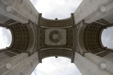 Arc de Triomphe (Fish-eye view) stock photo, The arc de Triomphe on the Champs Elisee in Paris, France seen from dead center below, using a fish eye lens to show the imposing size of the monument. by Corepics VOF