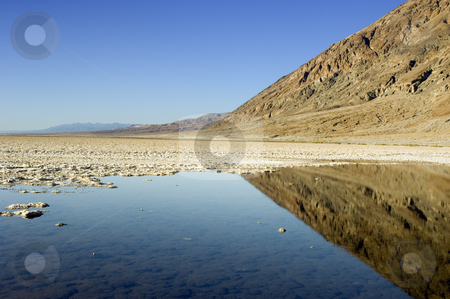 Badwateer Death Valley stock photo, Badwater, Death Valley National Park is the lowest part of the Western Hemisphere at 86m below sea level by Corepics VOF