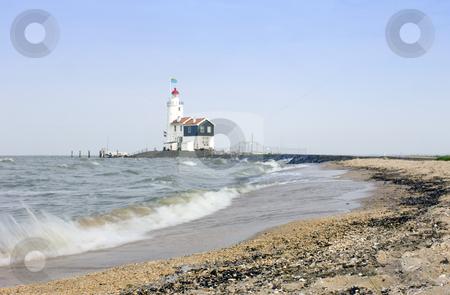 Paard van Marken stock photo, The lighthouse on the Peninsula of Marken on the IJsselmeer, the Netherlands, aptly called