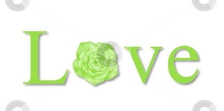 Love Flower Green stock photo, The text love with a flower on white background. by Henrik Lehnerer