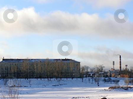 Industrial  town stock photo, Winter view of the industrial town buildings by Sergej Razvodovskij