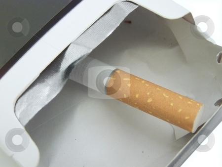 Last cigarette stock photo, Single cigarette in the empty cigarette box by Sergej Razvodovskij