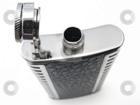 metallic flask stock photo, Metallic open flask against the white bacground by Sergej Razvodovskij