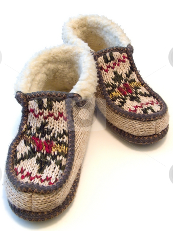 Slippers stock photo, The budge hand made knitted slipperswith ornate by Sergej Razvodovskij