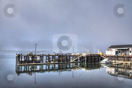 The Wharf stock photo, An early morning image of a wharf with frost by Hieng Ling Tie