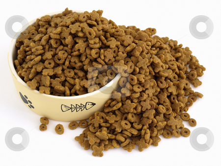 Cat Food Spill stock photo, A bowl of cat food, filled and spilling over the side. Studio isolated over white. by Robert Gebbie
