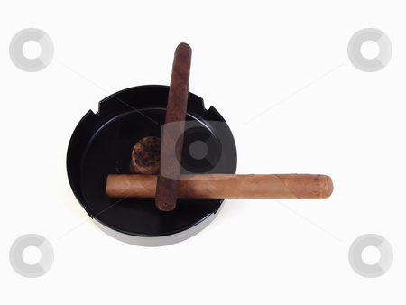 Two Unlit Cigars with Ashtray stock photo, Two unlit cigars with a clean ashtray over a white background with room for text by Robert Gebbie