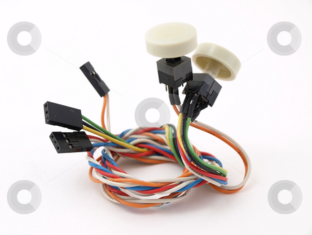 Isolated Buttons stock photo, Buttons and wiring isolated against a white background. by Robert Gebbie