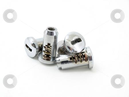 Tumble Locks stock photo, Four chrome key tumble locks studio isolated against a white background. by Robert Gebbie
