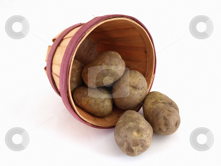 Potato Slide stock photo, A basket of potatoes. Studio isolated on a white background. by Robert Gebbie