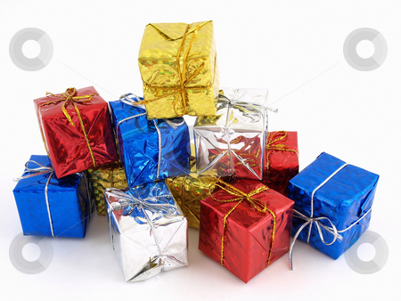 Gift Boxes stock photo, Colorful gift boxes in shiny wrapping paper isolated against a white background. by Robert Gebbie