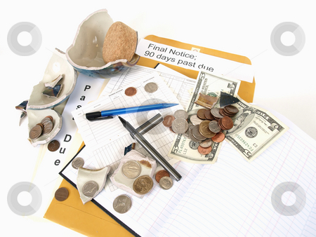 Sinking in the Economy stock photo, US Currency and broken ceramic pieces from a bank lay over empty ledger books and past due notices. by Robert Gebbie