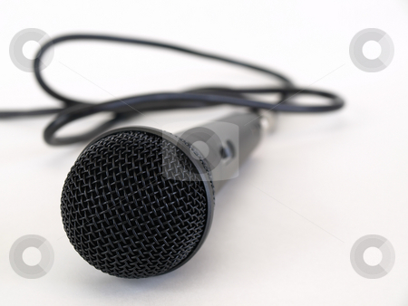 Is this thing on? stock photo, Studio microphone isolated on a white background with cord trailing off to the side. by Robert Gebbie