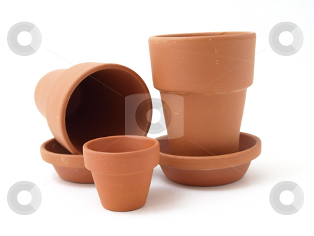 Gardening Pots stock photo, Several different sized terra cotta clay pots isolated on a white background. by Robert Gebbie