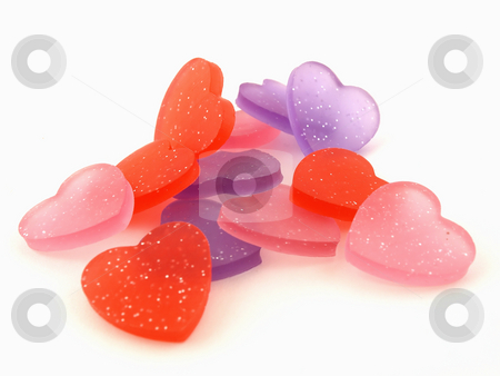 Purple. Pink and Red Hearts stock photo, Several pink, purple and red hearts isolated on a white background by Robert Gebbie