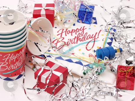 Birthdays stock photo, Party time for a birthday, on an isolated white background by Robert Gebbie