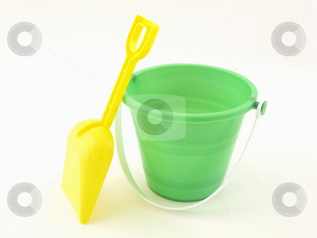 Green Pail with Yellow Shovel stock photo, A green plastic bucket and yellow shovel isolated on a white background by Robert Gebbie