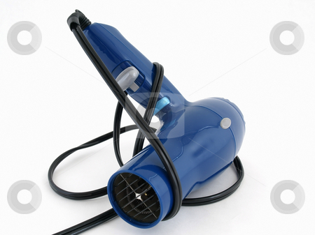 Hair Dryer stock photo, A blue hair dryer with a black cord isolated on a white background. by Robert Gebbie