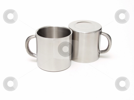 Silver Mugs stock photo, Two silver metal coffee cups on an isolated white background by Robert Gebbie