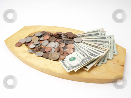 US Currency on Wood Tray stock photo, A wooden tray with US currency and coins. Studio isolated over a white background. by Robert Gebbie
