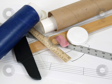 Building Plans stock photo, Designs in mailing tubes ready to leave the engineers desk, over white. by Robert Gebbie