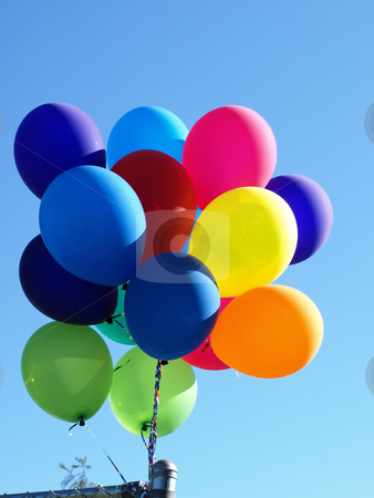 Balloons in the air stock photo, A bouquet of colorful balloons in the sky by Robert Gebbie