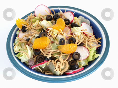 Healthy Salad over White stock photo, Crisp salad of lettuce, radishes, olives, mandarin oranges, cheese and Chinese noodles. Studio isolated over white. by Robert Gebbie