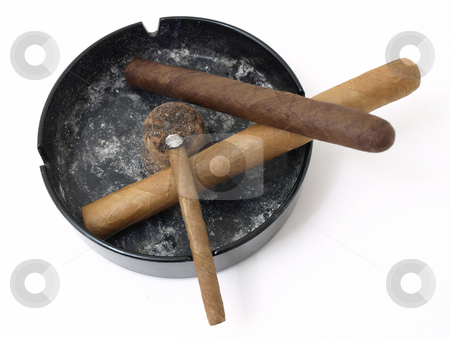 Cigars in Ashtray stock photo, Three cigars resting in a dirty ashtray isolated on a white background. by Robert Gebbie
