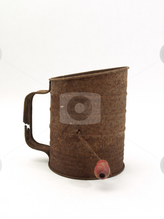 Old Rusty Flour Sifter stock photo, An old rusty flour sifter isolated on a white background. by Robert Gebbie