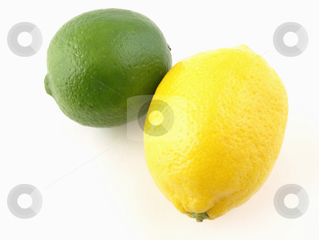 Lemon Lime Citrus Pair stock photo, A green lime and a yellow lemon isolated on a white background by Robert Gebbie