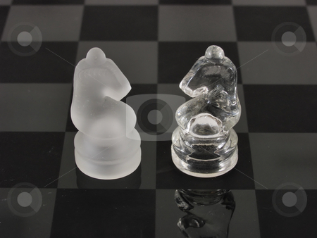 Knight Watch stock photo, Knights of a different color face off on a clear glass etched chess board. by Robert Gebbie